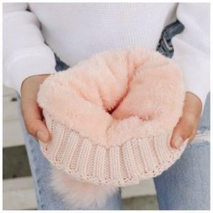 Accessories - NWT Blush Faux Sherpa Fur Lined Beanie